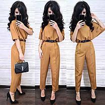 Стильный костюм укороченные брюки и крутая кофта с поясом, фото 3