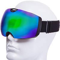 Горнолыжная маска-очки для сноуборда и лыж Лыжные очки зеркальные SPOSUNE Зеленые линзы (HX036)