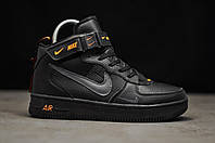 Кроссовки мужские зимние Nike Air Force LV8 черные, Найк Аир Форс, натуральная кожа, мех, код TD-9219