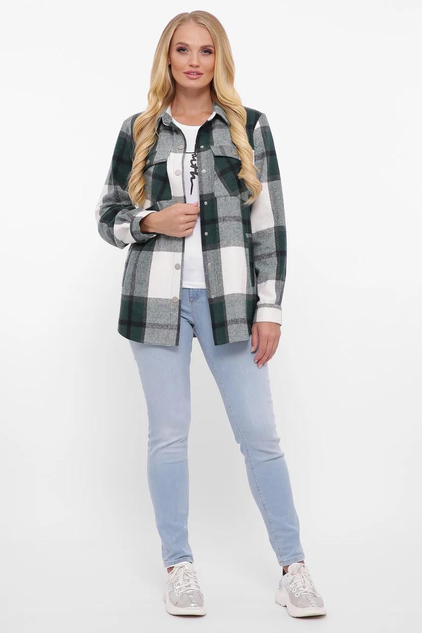 Тёплая женская рубашка в клетку, цвет зелёный, большого размера от 48 до 58