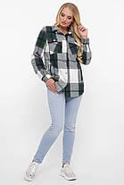Тёплая женская рубашка в клетку, цвет зелёный, большого размера от 48 до 58, фото 2