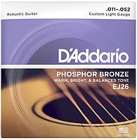 Струны для акустической гитары D`Addario EJ26 PHOSPHOR BRONZE CUSTOM LIGHT (11-52)
