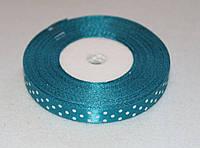Лента атласная в горошек 16177 синяя бирюза 10 мм