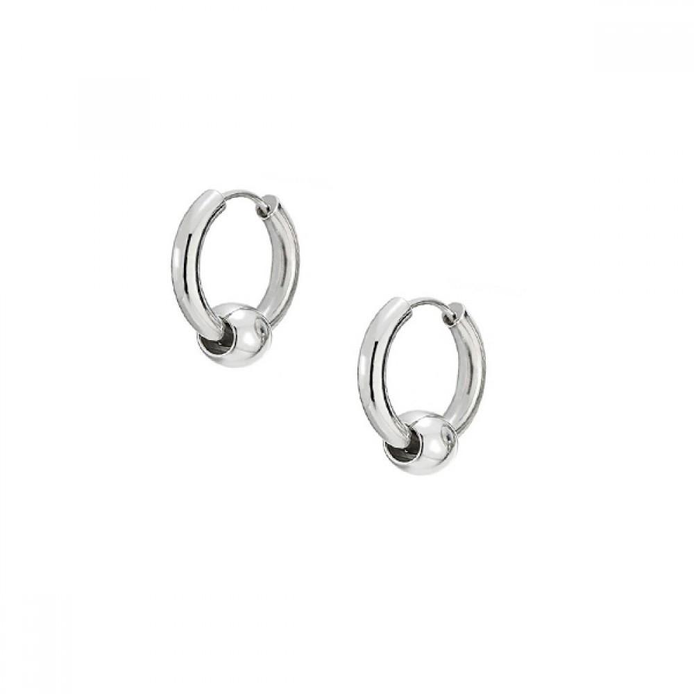 Миниатюрные кольца стальные серьги с подвижным шариком 176341