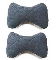 Автомобильная подушка на подголовник (2шт) ткань алькантара серая