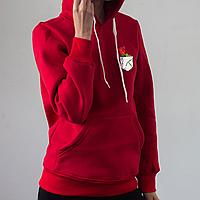 Женское красное худи, карман с розой, фото 1