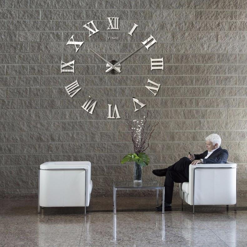 3D Часы настенные 100 см Римские серебристые зеркальные наклейки стикеры большие [Пластик]