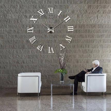 3D Часы настенные 100 см Римские серебристые зеркальные наклейки стикеры большие [Пластик], фото 2