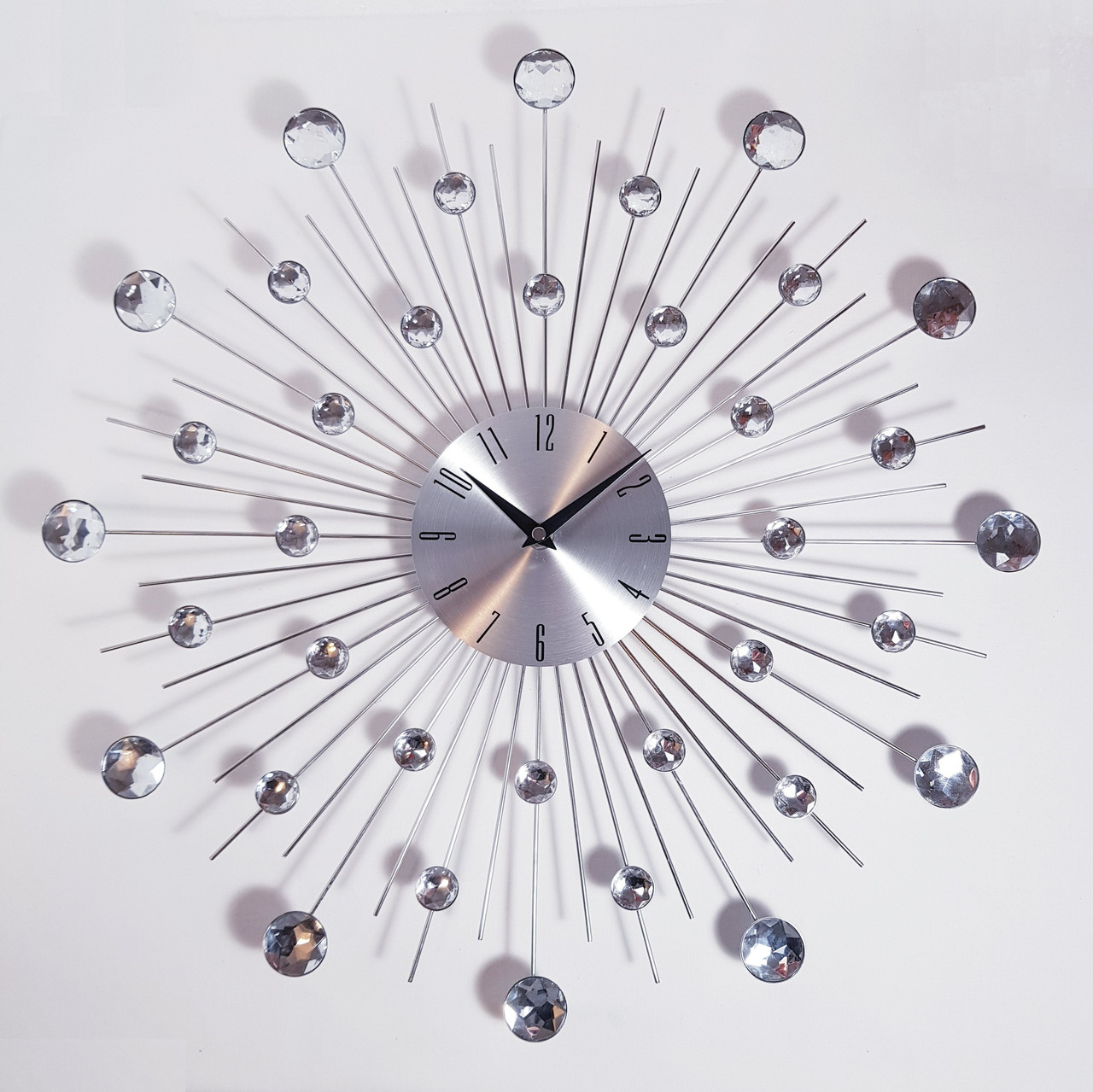 """Настенные часы (50 см) бесшумные большие со стразами камнями красивые """"Солнце3 Серебро"""" [Металл] Najlepsi Cas (Чехия)"""