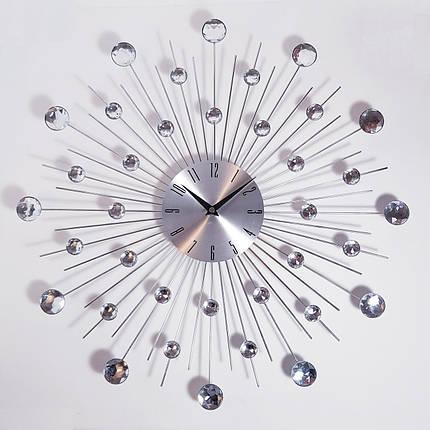"""Настенные часы (50 см) бесшумные большие со стразами камнями красивые """"Солнце3 Серебро"""" [Металл] Najlepsi Cas (Чехия), фото 2"""