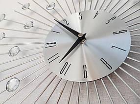 """Настенные часы (50 см) бесшумные большие со стразами камнями красивые """"Солнце3 Серебро"""" [Металл] Najlepsi Cas (Чехия), фото 3"""