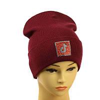"""Дитячо-підлітковий шапка """"Tik-Tok"""" бордовий"""