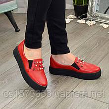 Мокасини жіночі на товстій підошві, колір червоний