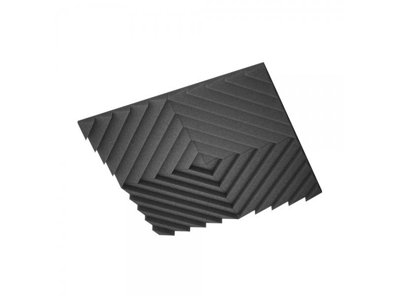 Акустическая подвесная звукопоглощающая панель Ecosound Quadro Acoustic Wave Black. 50мм 1х1м Цвет чёрный