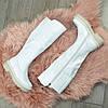 Сапоги женские кожаные белые на утолщенной подошве, фото 4