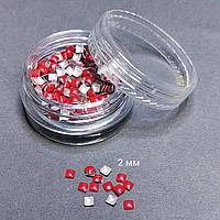 Заклепки для дизайна ногтей (красные квадратики)
