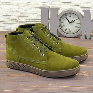 Мужские ботинки на шнуровке, натуральная замша оливкового цвета