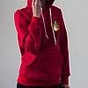 Женское красное худи, карман с кактусами