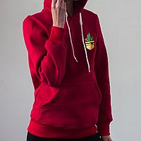 Женское красное худи, карман с кактусами, фото 1