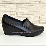Туфли женские черные кожаные на невысокой танкетке. 37 размер, фото 2
