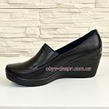 Туфли женские черные кожаные на невысокой танкетке. 37 размер, фото 3