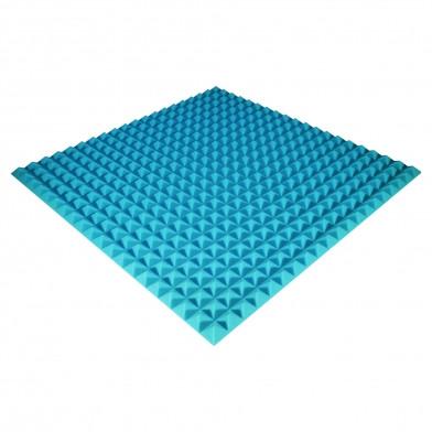 Панель из акустического поролона Ecosound Pyramid Color 25 мм, 100x100 см, синяя