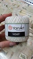 Нитки ирисовые для вязания YarnArt Violet. 50 г. 282 м. Цвет - молочный. Хлопок