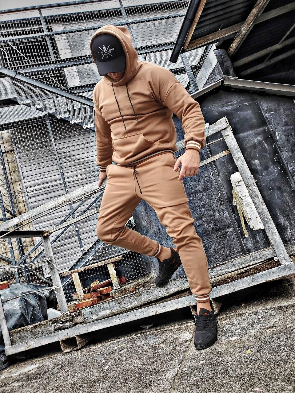 Мужской спортивный костюм c капюшоном капучино OC 20