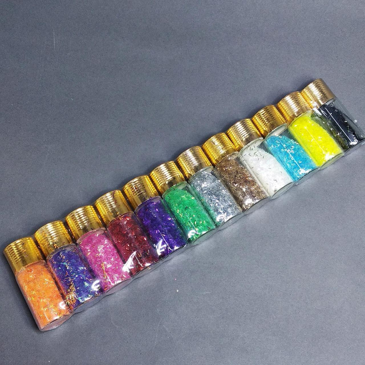 Блестки (полосочки) для украшения ногтей,  набор 12 больших баночек