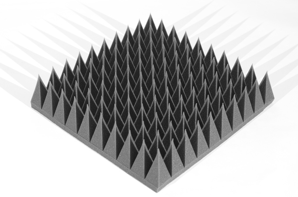 Акустическая панель Ecosound пирамида 120мм Mini,черный графит 50х50см из акустического поролона
