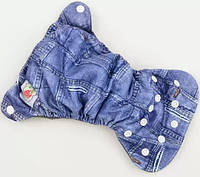 Многоразовый детский подгузник для новорожденных БАМБУКОВЫЙ Happy Flute, джинс