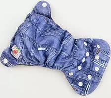 Багаторазовий дитячий підгузник для новонароджених БАМБУКОВИЙ Happy Flute, джинс