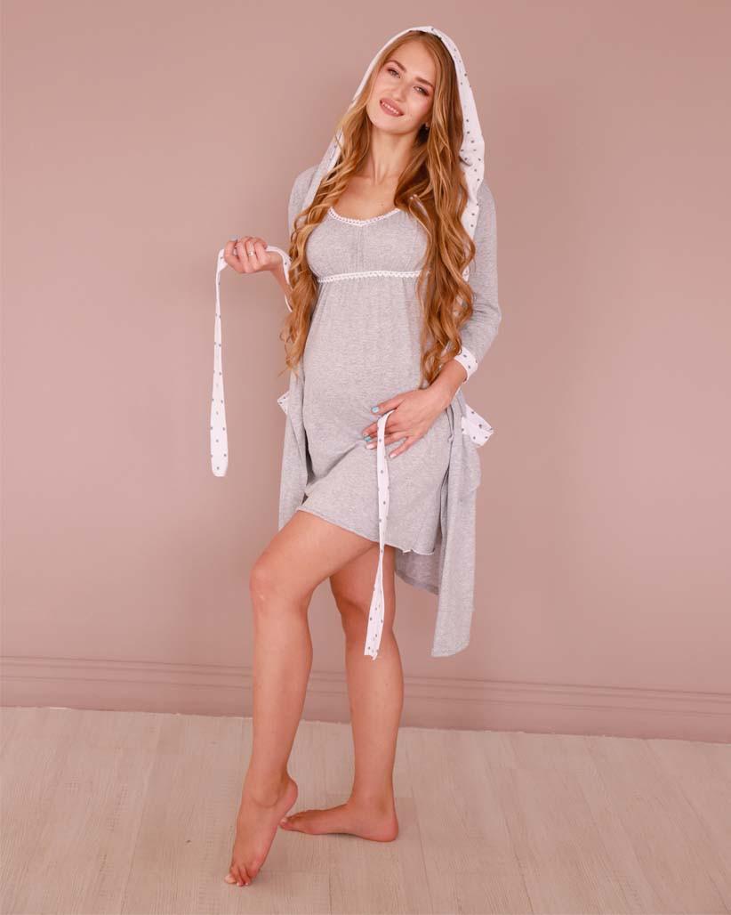 Комплект бавовняний двійка халат з капюшоном і нічна сорочка для вагітних і годуючих