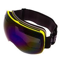 Горнолыжная маска-очки для сноуборда и лыж Лыжные очки зеркальные SPOSUNE Синие линзы Салатовый (HX021)