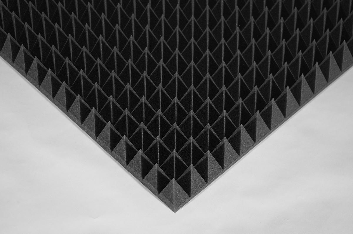 Акустическая панель Ecosound пирамида 90мм Mini,черный графит 50х50см из акустического поролона