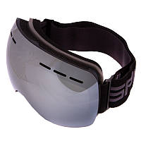 Горнолыжная маска-очки для сноуборда и лыж Лыжные очки зеркальные SPOSUNE Серебряные линзы Черный (HX021)