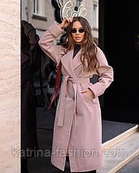 Женское пальто миди с поясом