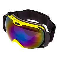 Горнолыжная маска-очки для сноуборда и лыж Лыжные очки зеркальные SPOSUNE Синие линзы Салатовый (HX012)