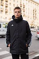 Мужская демисезонная куртка с капюшоном Adidas черная