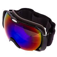 Горнолыжная маска-очки для сноуборда и лыж Лыжные очки зеркальные SPOSUNE Красные линзы Черный (HX012)