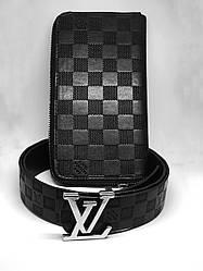 Кошелек+ремень набор  Louis Vuitton CLEMENCE (реплика) black