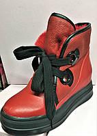 Женские кожаные зиние ботинки на платформе красные