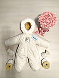 Детские комбинезоны конверты украинского производителя, белый комбинезон на овчине для новорожденного, фото 4