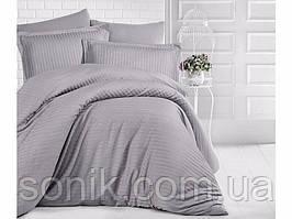 Комплект постельного белья страйп сатин серый 1*1   Полуторный   Сатин   Хлопок