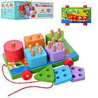 Деревянная развивающая игрушка для малышей сортер Limo Toy Геометрика - каталка MD1262 цветная