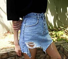 Спідниця джинсова з кишенями і потертостями на гудзиках