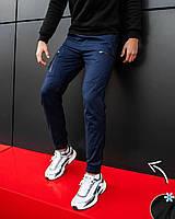 Модные мужские штаны из стрейч-коттона утеплённые микрофлисом  S M L XL