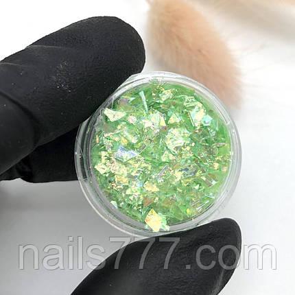 Слюда для дизайна ногтей, зеленая, фото 2