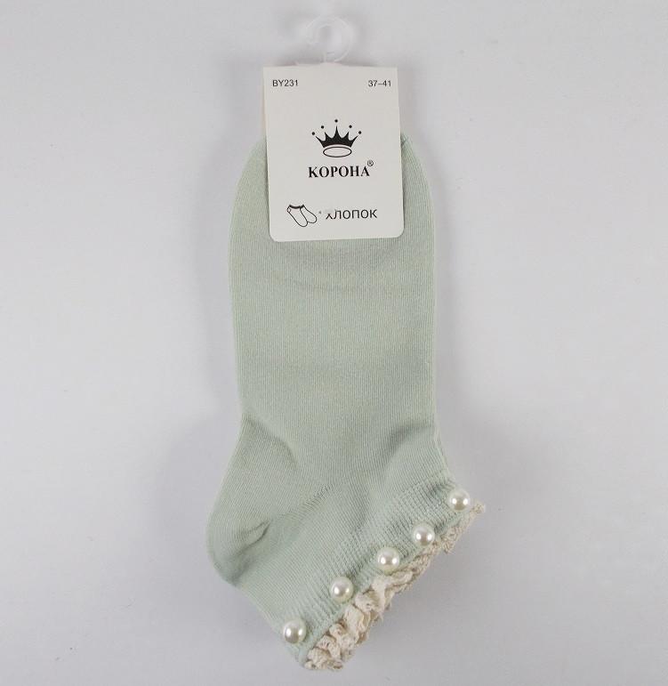 Носки с бусинками Корона 231 размер 37-41 зеленые