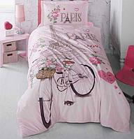 Подростковое постельное белье из турецкой ткани ранфорс Aran Clasy Paris Love 160x220 SKL53-239719